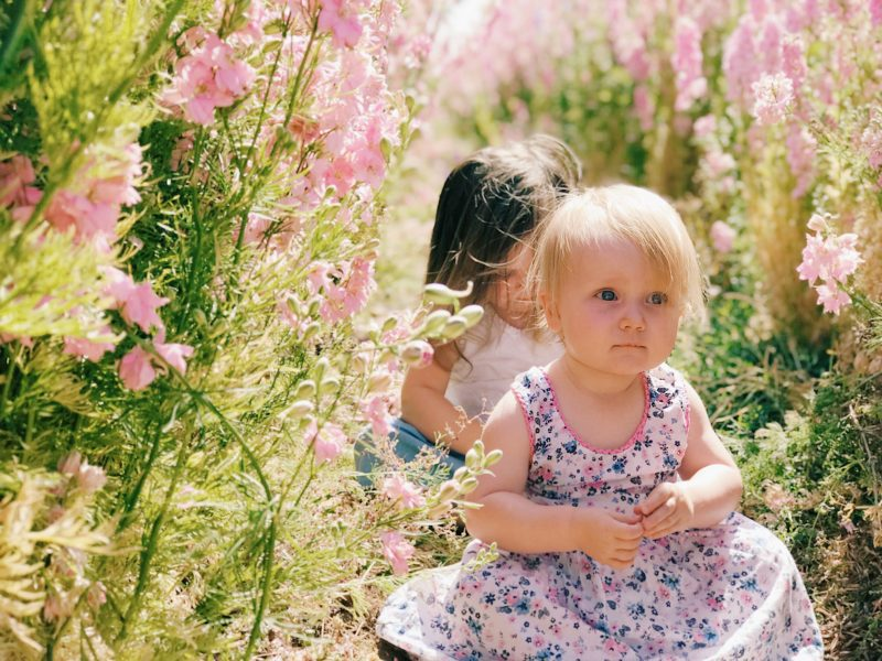 baby in flower field